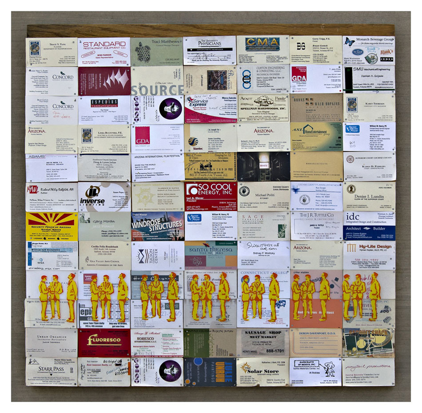 Bill mackey architect artist collage lets do lunch 2005 business cards colourmoves